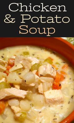 Creamy Chicken & Potato Soup A rich stock with chicken and potatoes finished with a little cream at the end for the perfect amount of richness without being too heavy. Chicken Potato Soup, Best Potato Soup, Cream Of Potato Soup, Chicken Soup Recipes, Easy Soup Recipes, Cooking Recipes, Healthy Recipes, Creamy Chicken Stew, Chicken Chowder