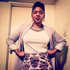 In charge. Paisley at large. #ootd #style #fashion #mycloset #business #berry #periwinkle #gray #cream #fierce #werk #tights #skirt #blazer #jewels #blouse #power #teamnatural_ #type4naturals #naturalhair