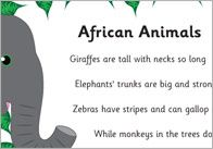 A fun and engaging poem about African animals that has been beautifully illustrated by a member of our team. Ideal to use as part of a jungle theme in your school or early years setting. Dear Zoo Activities, Animal Activities, Kindergarten Poems, Preschool Songs, Wild Animals, Animals For Kids, Tame Animals, Phase 1 Phonics, Animal Poems