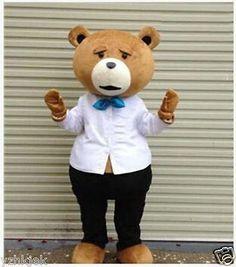 Hot Halloween Teddy Bear of TED Adult Cartoon Mascot Costume Fancy Dress & Piggyback Brown Bear Carry Me Ride on Teddy Bear Mascot Costume ...