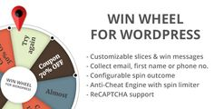 Win Wheel For WordPress by 34si Version 2.0.0 Update (16 Oct 2017) - NEW Collect email, name or phone number - NEW Show Win message in modal boxIntroWin Wheel For WordPress is a visitor engagement plugin, it¡¯s main purpose is to create instant win or raffle typ