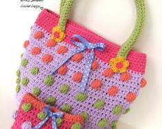 Girls Bag / Purse with Ladybug and Flowers Crochet by EvasStudio