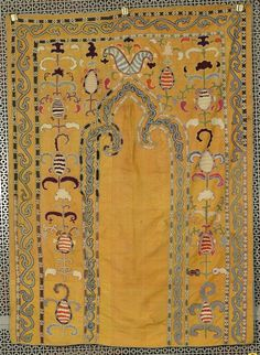 SUZANI PRAYER EMBROIDERY, ca. 1900; with gold ground; 4 ft. x 3 ft.