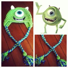 Crochet Mike Wazowski Hat. Sarah, can you make this?