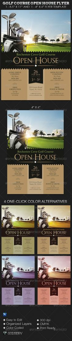 The Golf Course Open House Flyer Templates are for golf clubs or any sport club that desire a retro theme with a modern touch to compliment their brand. Use it for Open House, Golf Parties or General Event Notifications. $6.00