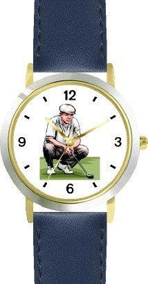 Golfer Kneeling Sizing up the Putt - Golf Theme - WATCHBUDDY® DELUXE TWO-TONE THEME WATCH - Arabic Numbers - Blue Leather Strap-Children's Size-Small ( Boy's Size & Girl's Size ) WatchBuddy. $49.95. Save 38% Off!
