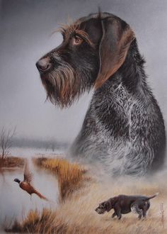 A painting of your own dog brings the connection between … – Hunting Ideas Hunting Art, Hunting Dogs, Dog Photos, Dog Pictures, Bird Dog Training, Waterfowl Hunting, Grouse Hunting, Hunting Tattoos, German Wirehaired Pointer