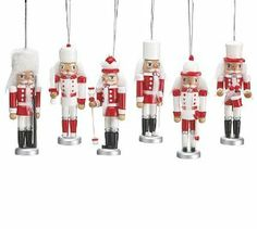 """Red & White Hand Painted Wooden 5.5 Inch Soldier Nutcracker Christmas Ornament Assortment (Set of 6) by Burton & Burton. $24.95. These Ornaments are adorable and unique and make a great addition to any collection. Set of 6 Assorted 5.5""""  Decorative Nutcracker Soldier Ornaments. Gift Boxed for Easy Gift Giving ~ Make a great gift or an elegant addition to your tree.. These Nutcrackers are considered """"Tall & Slender"""" and are the cutest ones around!. Red & White Hand Painted..."""