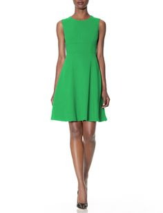 Seamed Fit & Flare Dress from THELIMITED.com - it isn't quite this bright and is perfect for luncheons, weddings and work - just accessorize appropriately!