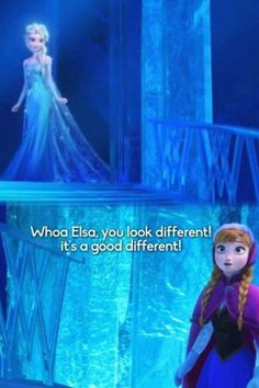 """Frozen - Anna is so funny. First she calls Elsa """"beautifuller"""", and then she says she looks """"different"""". Frozen Art, Anna Frozen, Disney Frozen, Best Disney Movies, Disney Films, Good Movies, Disney Stuff, The Snow Queen 3, Meaning Of True Love"""