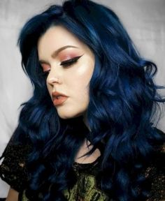 We re hypnotized by ashkmakeup s midnight blue hair She darkened Aquamarine with a drop of Transylvania to get this alluring shade Dark Blue Hair, Blue Ombre Hair, Ombre Hair Color, Hair Color For Black Hair, Cool Hair Color, Gray Hair, Lilac Hair, Smokey Blue Hair, Hair Color Ideas