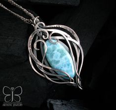 "silver necklace, wire wrap jewelry, wire wrapping silver pendant with larimar ""HEAVEN"" Opal Necklace, Silver Earrings, Pendant Necklace, Wire Wrapped Necklace, Wire Wrapped Pendant, Wire Jewelry, Unique Jewelry, Jewellery, Silver Pendants"