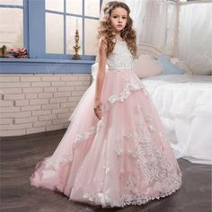 93.84$ Buy now - 2017 New Puffy Pink Flower Girl Dress Tulle Lace Appliques Handmade Butterfly First Communion Dresses Ball Gown Vestidos Longo #magazineonlinebeautiful