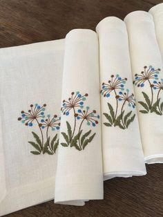 Linen Placemats Set of 6 Embroidery Linen Table Linen Table Top Fabric Placemat White