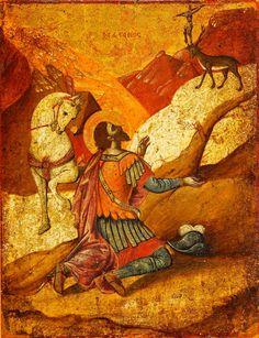 St.Eustacheus. Cretan 17th century. H.Korban collection Religious Icons, Religious Art, Greek Icons, Best Icons, Byzantine Art, Icon Collection, Orthodox Icons, Christian Art, Images