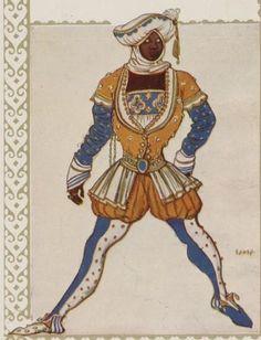 "Costume design (1914), by Léon Bakst [Левъ Самуиловичъ Бакстъ] (1866-1924), for ""Josephs Legende"" (1914), by Richard Strauss (1864-1949)."