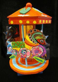 """Nancy's Carousel""  By Goodwill Art Studio & Gallery artists, Nancy Eggert, James McMutary and Kathleen Stebbins"