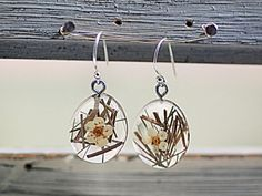 925 Silver Real Grass and Flowers Earrings