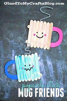 Popsicle Stick Mug Friends - Winter Themed Kid Craft Idea