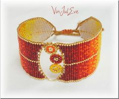 bracelet loom plaque dégardé rouge orange jaune Beading Jewelry, Loom Beading, Bead Loom Patterns, Bead Earrings, Beadwork, Cuff Bracelets, Creations, Handmade Jewelry, Beads