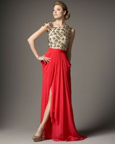 coral tulle chiffon combo gown