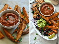 Grilled tofu, sweet potato, black bean salad with guacamole and grilled tomato bell pepper sauce - Compassionate Cuisine