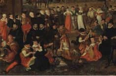 DETAIL from: JORIS HOEFNAGEL (ANTWERP 1542-1601 VIENNA) A VILLAGE FESTIVAL WITH ELEGANTLY DRESSED FIGURES IN PROCESSION, A RIVER AND TOWER BEYOND