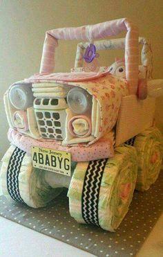 Bany girl Jeep diaper cake
