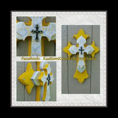 Yellow and Gray Paisley Wall Cross