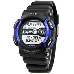 Sport Waterproof Stopwatch Kids Watch for Boys. Japanese quartz movement, high-grade material. Watch band length: from 4.92 to 7.1 inches. Great gift for your children, convenient for life. Date, day, month, second, minute, hour displaying, alarm, hourly-chime, chronograph function. Recommended age: from 3 to 10 years old.