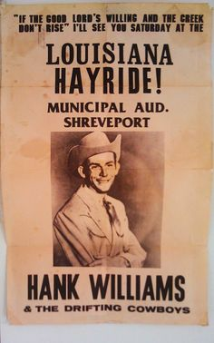 """1949: Hank Williams makes his last appearance on """"The Louisiana Hayride"""" at the Municipal Auditorium in Shreveport, leaving the radio show to join the Grand Ole Opry. Red Sovine takes his place."""