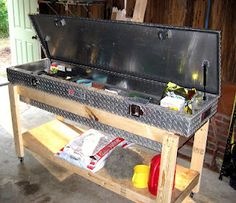 Re-purposed truck toolbox for a potting bench/garage storage.