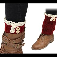 Deep Red Low Boot Socks with Crochet & Buttons NEW Brand new Lil + Lo Boot socks! These are amazing quality!  Several styles and colors available. Arrives packaged from non smoke environment. ⚡️Ships ASAP⚡️. ❌NO TRADES!❌ Please bundle for discount 🎀 Lil + Lo Accessories Hosiery & Socks