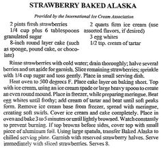 """Strawberry Baked Alaska recipe, published in the Arkansas Democrat newspaper (Little Rock, Arkansas), 11 March 1992. Read more on the GenealogyBank blog: """"Celebrating National Ice Cream Day: You Scream for Ice Cream."""" https://blog.genealogybank.com/celebrating-national-ice-cream-day-you-scream-for-ice-cream.html"""