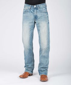 Blue Light Wash Multi-Row Deco-Stitch Jeans