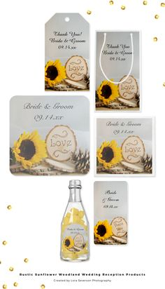 Set a casual yet classy tone for your post marriage party with the charming Rustic Sunflower Woodland Wedding Reception Products. Choose from personalized disposable paper napkins and coasters, favor tags, party favors, guest books and table numbers. Each product features a nature photograph of a yellow sunflower blossom, natural wood slices with the word LOVE burned on them, brown pine cone and white bridal veil with a white satin background. #rusticwedding