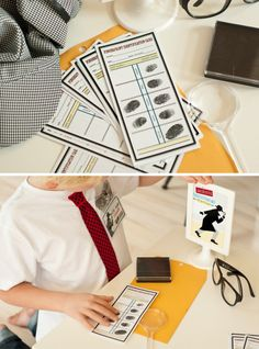 Detective Party Fingerprinting Station / Fingerprinting Kit Printables by Anders Ruff