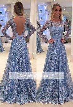 Blau Abendkleider Günstig A Line Spitze Abendkleid Online Kaufen_Brautkleider,Abiballkleider,Abendkleider