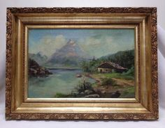 Frigh Vintage Beautiful Landscape Oil Painting w. Gold Antique Ornate Frame #Realism