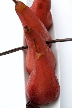 Red Wine-Poached Pears in a Boat