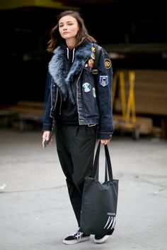 Pin for Later: Catch Up on the Best Model Street Style Moments at MFW New York Fashion Week Vans sneakers.