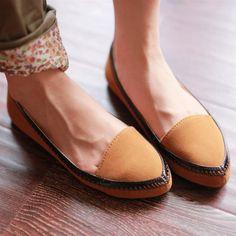 $9.8 sweet casual fresh Sen female suede comfortable flat shoes women-ZZKKO