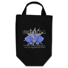 Esophageal Cancer Fight Like a Warrior Canvas Bag by cancerapparelgifts.com