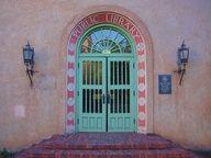 NM Public Library Door    Door to the New Mexico Public Library building in Santa Fe, New Mexico.
