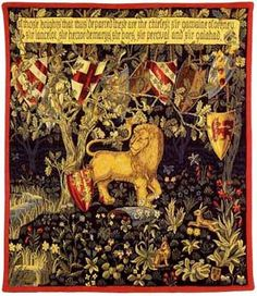 Heraldic Lion TapestryMedieval Tapestries - Woven in France - PansuThis scene in the tapestry, Heraldic Lion is symbolic of The Quest for the Unicorn by King Arthur's court and the Knights of the...