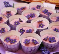 Lovely Lavender Theme:vanilla cupcakes with lilac icing & violet flowers