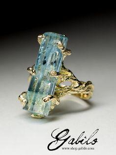 Aquamarine Crystal Gold Ring Raw Rare Gem <b>Natural</b> Genuine ...