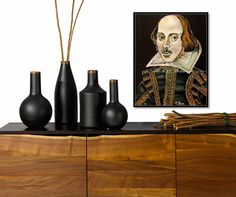 William Shakespeare Portrait Canvas Print of Art painting black w/ gold accents yellow purple green office or library decor