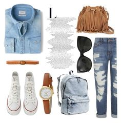 """""""》♡ casually simple ♡《"""" by rileyadewitt on Polyvore featuring Current/Elliott, MANGO, Converse, Linea Pelle, Rebecca Minkoff, Chanel, H&M and Kate Spade"""