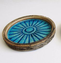 blue ceramic ash tray or decorative plate blue and grey